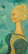 SOFÍA BASSI, (Mexican, 1913-1997), Retrato de Claire, 1989, Oil on masonite, H 27½ x W 14¾ inches