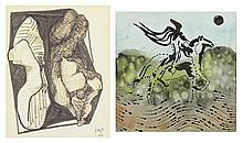 FRANCISCO ICAZA, (Mexican, born 1930), Two Works on Paper Untitled, 1966 Untitled, 1975, Watercolor and ink on paper, H 13¾ x W 13¾...