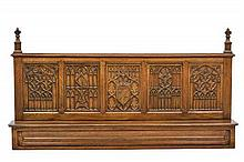 A GOTHIC REVIVAL CARVED OAK OVER MANTEL