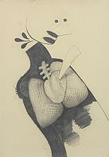 RICARDO ANGUIA, (Mexican, born 1951), Untitled, Graphite on paper, H 39½ x W 27½ inches.
