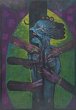 RICARDO ANGUIA, (Mexican, born 1951), Untitled, Oil pastel and ink on paper, H 39¼ x W 27½ inches.