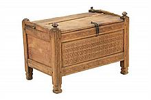 A SPANISH CARVED PINE COFFER