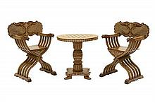 A HISPANO MORESQUE STYLE HORN INLAID TEAKWOOD GAMES TABLE AND CHAIRS