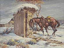 FRED HARMAN, (American, 1902-1982), Frost Chores, Oil on canvas, H 23 x W 18½ inches.