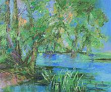 BARTOLI, (20th century), French Swamp, Oil on canvas, H 31½ x W 36 inches.