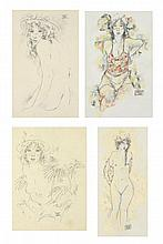 ARTIST UNKNOWN, (20th century), Untitled, Watercolor and graphite on paper (four works), H 10½ x W 6¾ inches.