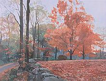 LEE JAMISON, (American, born 1957), Morning in Red and Blue, 1990, Oil on canvas, H 18 x W 24 inches.