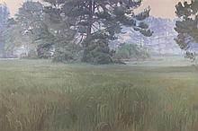LEE JAMISON, (American, born 1957), Morning Trees, Oil on canvas, H 40 x W 60 inches.