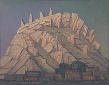 JORGE GONZALEZ CAMARENA, (Mexican, 1908-1980), Un Cerro de Torreon, 1970, Oil on canvas, H 15 x W 18½ inches.