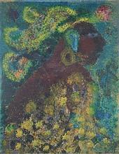 OLGA COSTA, (German/Mexican, 1913-1993), Cabeza Maya, 1964, Oil on board, H 28½ x W 22¼ inches.