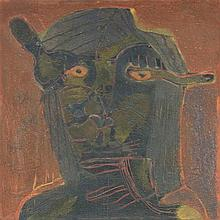 SERGIO HERNANDEZ, (Mexican, born 1957), Untitled, 1986, Oil and sand on canvas, H 31¾ x W 31½ inches.