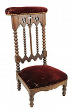 A FRENCH UPHOLSTERED PRIE DIEU