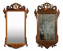 A NEAR PAIR OF CHIPPENDALE STYLE MAHOGANY MIRRORS