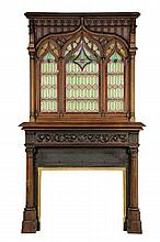 A GOTHIC REVIVAL MANTEL AND SURROUND