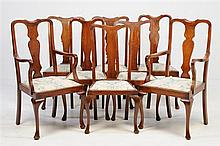 A SET OF EIGHT QUEEN ANNE STYLE MAHOGANY DINING CHAIRS