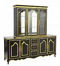 AN EMPIRE STYLE EBONIZED AND PARCEL GILT VITRINE CABINET