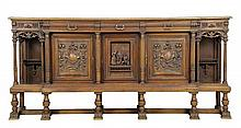 A FRENCH RENAISSANCE REVIVAL WALNUT SIDEBOARD