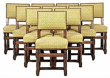 A SET OF TEN FRENCH LOUIS XIII STYLE DINING CHAIRS
