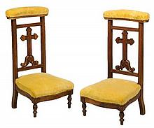 A PAIR OF FRENCH UPHOLSTERED PRIE DIEU