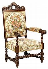 A RENAISSANCE REVIVAL CARVED WALNUT HALL CHAIR