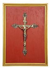 A FRENCH FRAMED GILT METAL CRUCIFIX