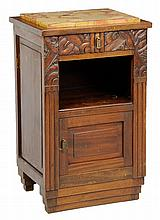 AN ARTS AND CRAFTS STYLE BEDSIDE CABINET