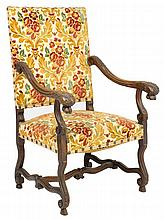 A RENAISSANCE REVIVAL UPHOLSTERED HALL CHAIR