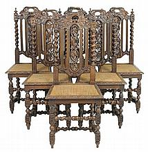 A SET OF SIX RENAISSANCE REVIVAL DINING CHAIRS