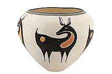 AN ACOMA PUEBLO POLYCHROMED POTTERY VESSEL BY SARAH GARCIA (born 1928)