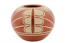 A SAN ILDEFONSO PUEBLO REDWARE POTTERY BOWL BY ALBERT AND JOSEPHINE VIGIL