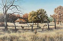 JUDITH (Judy) GIBSON, (American, Texas, 20th century), Landscape, Oil on canvas, H 24 x W 36 inches.