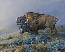 J.W. (Jerry) THRASHER, (American, Texas, born 1940), Prairie Monarch, 2008, Oil on canvas, H 8 x W 10 inches.