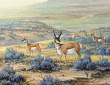 J.W. (Jerry) THRASHER, (American, Texas, born 1940), Sagebrush Wanderers, 2008, Oil on canvas, H 11 x W 14 inches.