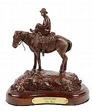 JIM WARD, (American, born after 1931), Nighthawk, Bronze, 18/25, H 8 x W 7¼ x D 5 inches.
