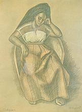 RAUL ANGUIANO, (Mexican, 1915-2006), Seated Women, 1978, Lithograph, H 22¾ x W 17 inches.
