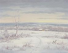 C.P. MONTAGUE, (American, late 20th century), Welcome Visitor, Oil on canvas, H 11 x W 14 inches.