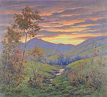 ROBERT OTTOKAR LINDNEUX, (American, 1871-1970), Landscape, 1933, Oil on canvas, H 18 x W 20 inches.