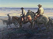 LARRY ZABEL, (American, 1930-2012), Sundown Riders, Oil on canvas, H 18 x W 24 inches.