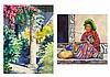 JOHN MASKEY, (American, Texas, born 1937), Fiesta Verde Vendedora de Chichicastemango, Watercolor on paper (two works), H 15 x W 11...