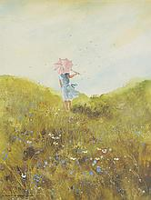 CATHARINE GARNES HEINTZ, (American, 20th century), Landscape with Figure, Gouache and watercolor on paper, H 14¼ x W 11¼ inches.