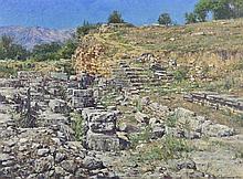 ANTON OVSIANIKOV, (Russian, born 1973), Ruins of Ancient Theater, Sparta, Greece, 2006, Oil on canvas, H 28 x W 38 inches.