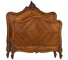A FRENCH LOUIS XV STYLE PARQUETRY INLAID BED