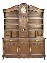 A FRENCH PROVINCIAL SIDEBOARD CABINET WITH CLOCK