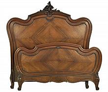 A FRENCH LOUIS XV STYLE PARQUETRY BED