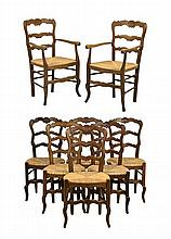 AN ASSEMBLED SET OF EIGHT FRENCH PROVINCIAL STYLE DINING CHAIRS