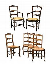 AN ASSEMBLED SET OF SIX FRENCH PROVINCIAL STYLE CHAIRS