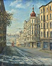 DIMITRI AZAROV, (Russian, 20th/21st century), Chakovsky Street, St. Petersburg, 2005, Oil on canvas, H 23 x W 18 inches.