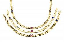 A 14 KARAT YELLOW GOLD WITH MULTI-COLOR STONES NECKLACE AND TWO BRACELETS