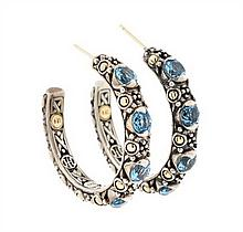 A PAIR OF JOHN HARDY STERLING SILVER, 18 KARAT GOLD, AND BLUE TOPAZ EARRINGS