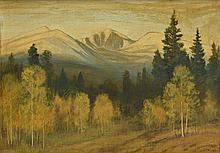 DAVID STIRLING, (American, 1887-1971), East Face Long's Peak, 1938, Oil on board, H 23¾ x W 33½ inches.